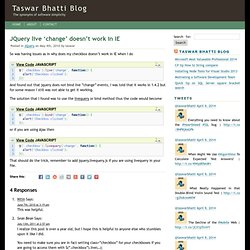 JQuery live 'change' doesn't work in IE | Taswar Bhatti Blog