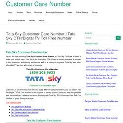 Tata Sky DTH/Digital TV Toll Free Number