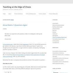 Teaching at the Edge of Chaos