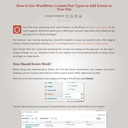 Use WordPress Custom Post Types to Add Events to Your Site
