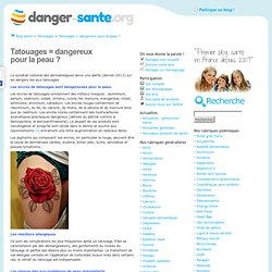 Tatouages : Dangereux pour ma peau d'après des dermatologues ?