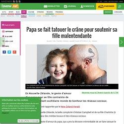 Papa se fait tatouer le crâne pour soutenir sa fille malente...