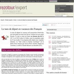 Le taux de départ en vacances des Français