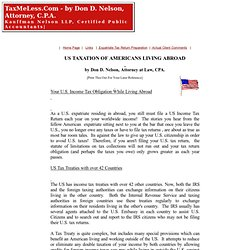 US INCOME TAXATION OF AMERICANS AND EXPATRIATES LIVING ABROAD