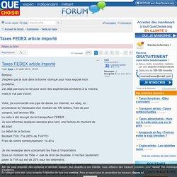 Taxes FEDEX article importé - Vente en ligne