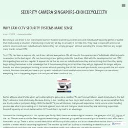 Why Taxi CCTV Security Systems Make Sense