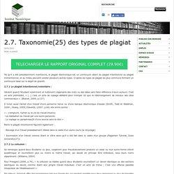 2.7. Taxonomie(25) des types de plagiat