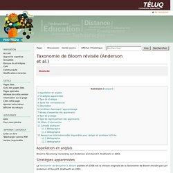 Taxonomie de Bloom révisée (Anderson et al.) — Wiki-TEDia