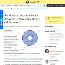 The PLACARD taxonomies for CCA & DRR: Development note and future work