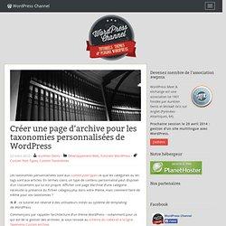 Créer une page d'archive pour les taxonomies personnalisées de WordPress