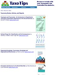 Taxonomy Books, Articles, and Reports