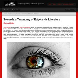 Towards a Taxonomy of Edgelands Literature