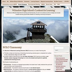 SOLO Taxonomy « Wilmslow High School's 'Lookout for Learning'