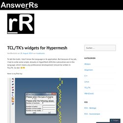 TCL/TK's widgets for Hypermesh