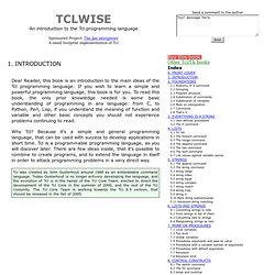 TclWise, a Tcl book with free chapters online - INTRODUCTION