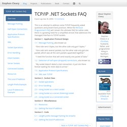 TCP/IP .NET Sockets FAQ