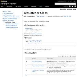 TcpListener Class (System.Net.Sockets)