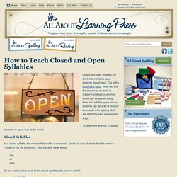 How to Teach Closed and Open Syllables