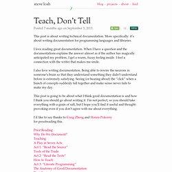 Teach, Don't Tell