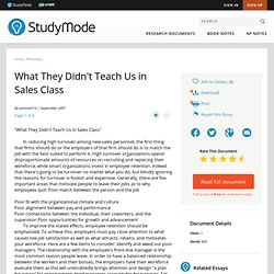 What They Didn t Teach Us in Sales Class - Term Papers - Tammie316