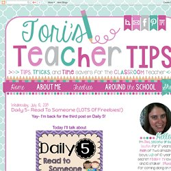 Tori's Teacher Tips: Daily 5- Read to Someone (LOTS of freebies!)