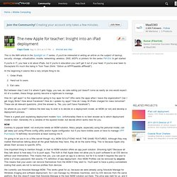 The new Apple for teacher: Insight into an iPad deployment