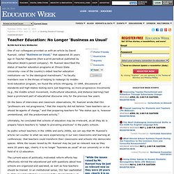 Teacher Education: No Longer 'Business as Usual' - Education Week