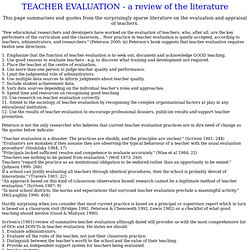 Teacher Evaluation Literature