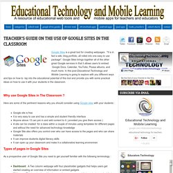 Teacher's Guide on The Use of Google Sites in The Classroom