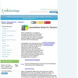 Teacher Guide To Spreadsheet