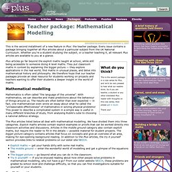 Teacher package: Mathematical Modelling