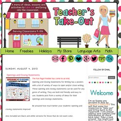 Teacher's Take-Out: Openings and Closing Statements