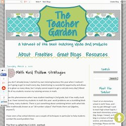 The Teacher Garden: Math Word Problem Strategies
