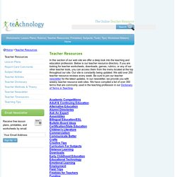 Teacher Resources- Lesson Plans, Web Sites