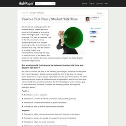 Teacher Talk Time / Student Talk Time
