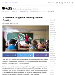 A Teacher's Insight on Teaching Gender Equality