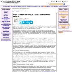 Yoga Teacher Training In Canada – Learn From Experts