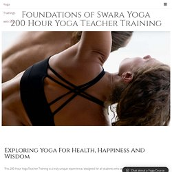 200 Hour Yoga Teacher Training: Foundations of Swara Yoga