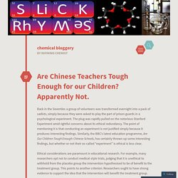 Are Chinese Teachers Tough Enough for our Children? Apparently Not.