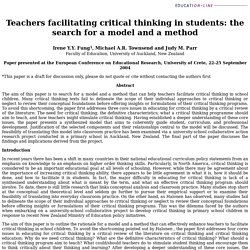 Teachers facilitating critical thinking in students: the search for a model and a method