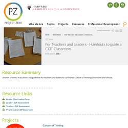 For Teachers and Leaders - Handouts to guide a COT Classroom