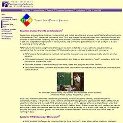 TIPS: Teachers Involve Parents in Schoolwork