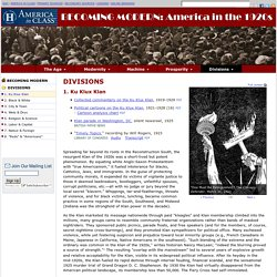 Ku Klux Klan, America in the 1920s, Primary Sources for Teachers, America in Class, National Humanities Center
