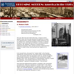 Modern Faith, America in the 1920s, Primary Sources for Teachers, America in Class, National Humanities Center