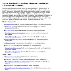 Music Teachers: Printables, Handouts and Materials at zZounds