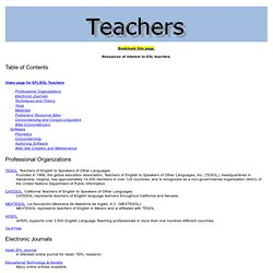 Teachers: Resources of interest to ESL teachers
