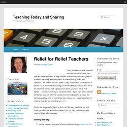 Relief for Relief Teachers