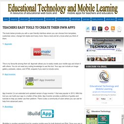 Teachers Easy Tools to Create Their Own Apps