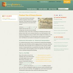 Teachers' Use of Primary Sources