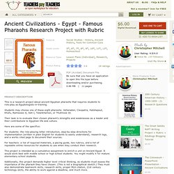 Ancient Egypt Famous Pharaohs Research Project with Rubric - MisterMitchell.com